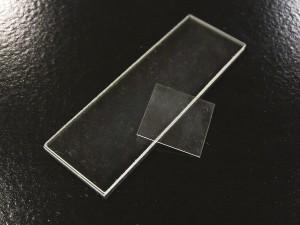 A lamínula, bem mais fina que a lâmina com aproximadamente 0,05 mm.