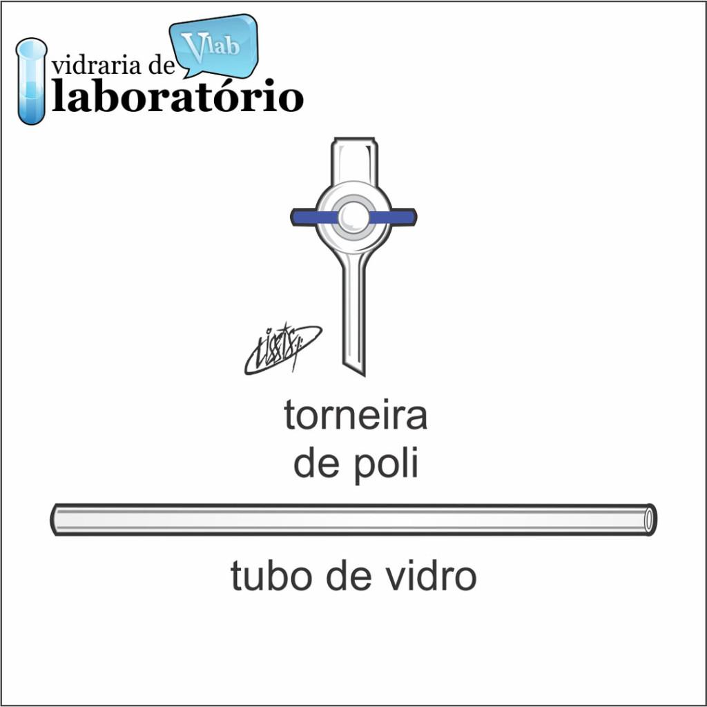 Torneira de vidro com registro de Poli e Tubo de Vidro